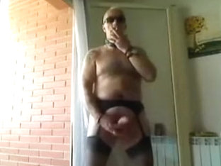 Wanking in girly undies