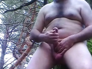 shaved outdoor and cum