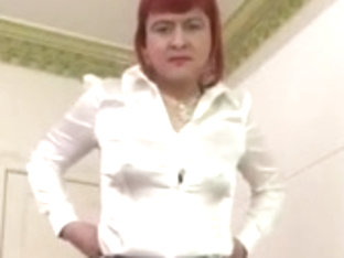 Cock playing Tranny in tight leather suit and pantyhose
