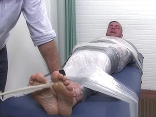 Hunky dude Braden bound and tickle tormented by dom