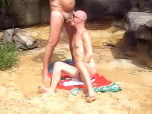 beach hunk blows dad
