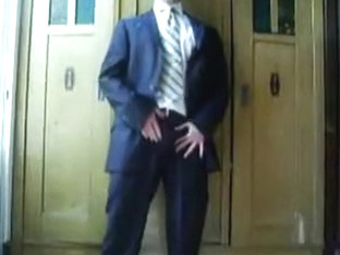 Jerking Off in dress and tie two