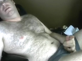 Handsome guy is jerking in his room and filming himself on web cam