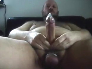 jerking off and sounding, cum in fucking-rubber