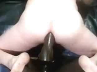 Sit on a big black dildo, Ass fuck riding