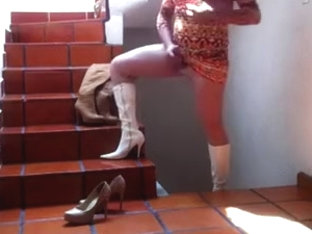 Brown/White Boots, Heels and Orange Costume