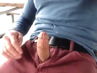Jerking off, talking and cumming in the picnic area