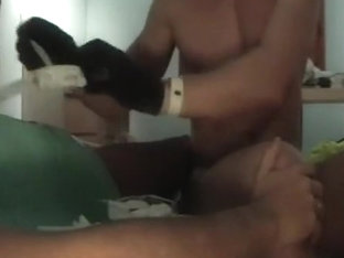 Muscled mate puts me a catheter in darksome latex gloves