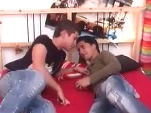 Boys Barebacking on Red Bed