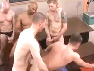 Incredible male in crazy frat/college, bareback gay porn scene