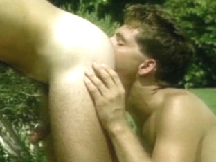 Hottest male pornstars Bill Hunter and Terry Gardner in best group sex, vintage homo porn movie