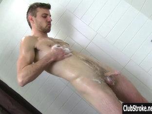 Hot Straight Aaron Wank His Cock In Shower