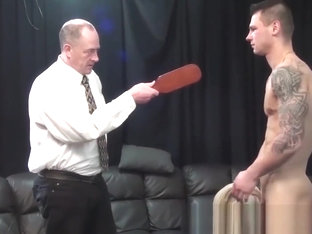 Sporty jock Cal is spanked, paddled and belted