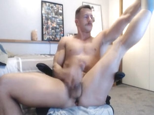 handsome stud with moustache jerkoffs on cam