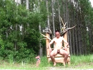 Nude on outdoor chair