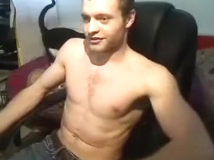 Juicy fagot is having a good time in a small room and filming himself on webcam