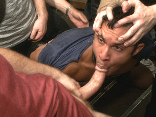 Muscled hunk tormented & gang banged in a stairwell full of horny men