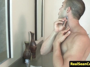 Freshly shaved muscular hunk jerking off