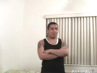 Long haired latino dude takes a black cock up his ass