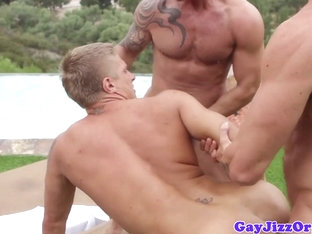 Athletic gay hunks fucking ass in the sun
