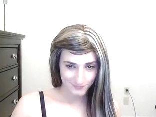 Teen crossdresser striptease