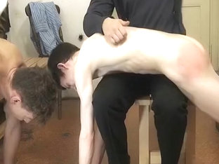 Sucking cock while being spanked