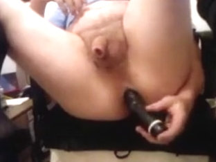 Hard noisy fucking from my large darksome sex-toy
