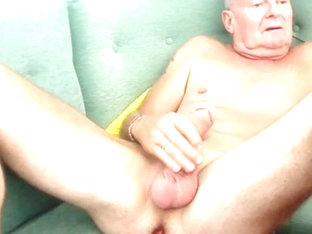 Same bald daddy stroking his big dick & dildo up his ass