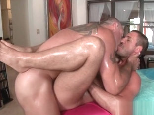 Gay hardcore anal fucking on the massage table