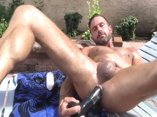 dilf fucking his hole outside