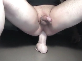 Deep dildo ride with oozing precum
