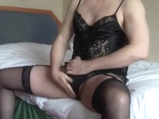 Sissy Jacking Off in Lingerie