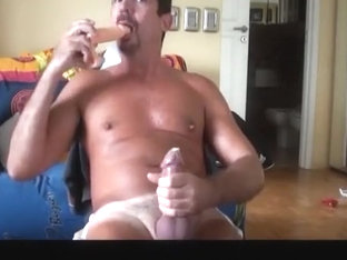 Condom and Dildo fun while skyping with a buddy