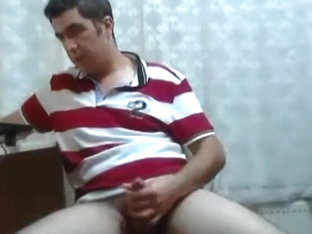 Handsome turkish man wanking