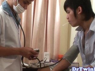 Asian twink prostate checked with big dildo