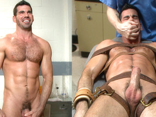 Muscled stud strapped down & has his cock milked at the sperm bank