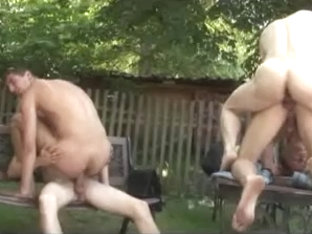 Nice looking gay hunks masturbate by the pool
