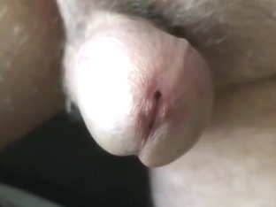 Mature exhibitionist long close-up with precum and cum