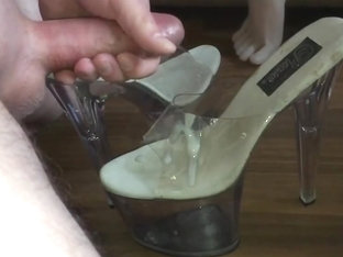 Cum on high heel  shoejob  footjob  fetish slow motion