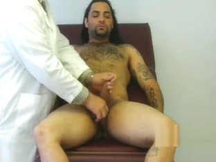 Sexy long hair stud's final examination and cum shot