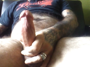Strokedown and cum while watching trans porn