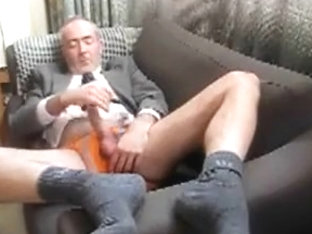 Handsome mandy in suit and socks