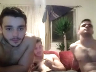 str8 3 buddys jerking together