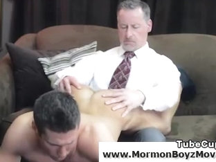 Older gay man spanking a younger guy