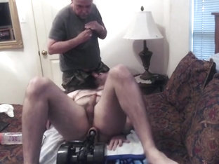 Daddy feeds me with cum while I'm fucked by a machine