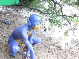 A Blue Digitmon Taking Off His Clothes / Bodypaint / Naked Body Art #1