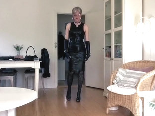 girlsy sexy tight black leather dress 4
