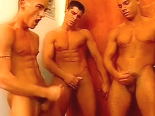 Kinky gay foursome cock and toy fucking