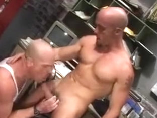 Hot gay studs in a group sex action