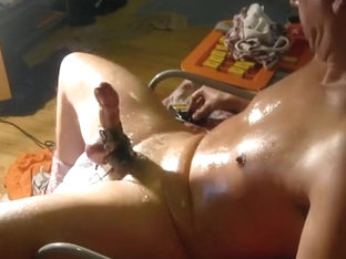Handsfree Electro Cumshot, Cock spews cum handsfree..
